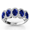 Blue sapphire oval 5 stone wedding anniversary micro pave set band