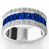 Diamond cut sapphire baguettes with round diamonds