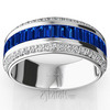 Sapphire baguettes and round diamonds wedding band