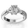 Antique three stone diamond trillion engagement ring