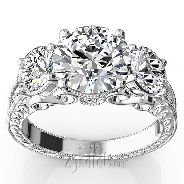 Three Stone Antique Inspired Diamond Engagement Ring 1 110 ct tw