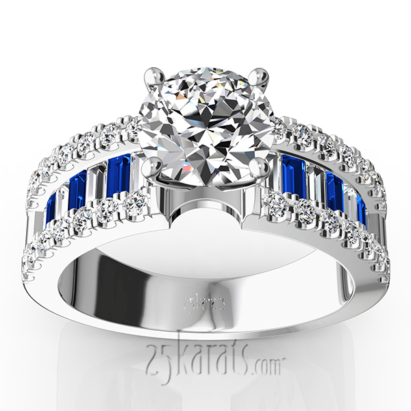 engagement ring with sapphire and diamond baguettes ct t w