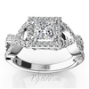 Infinity shank princess cut center diamond engagement ring