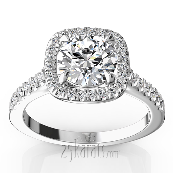 Enr9363 Previous Halo Micro Pave Cathedral Diamond Ring