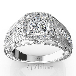 Antique engraved diamond engagement ring rin