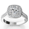 Pave set in walls halo diamond ring