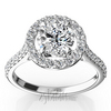 Cathedral halo micro pave engagment ring