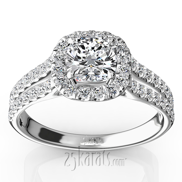 Scalloped Duo Shank Micro Pave Diamond Engagement Ring (1