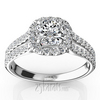 Split shank micro pave halo diamond engagement rings