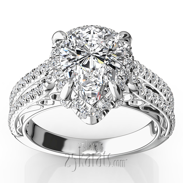 Pear Shape Halo Antique Scroll Engagement Ring 58 ct tw