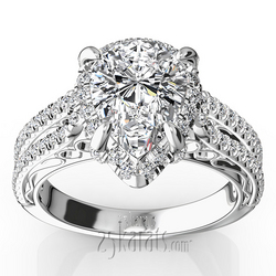 Pear shape halo split shank engagement ring