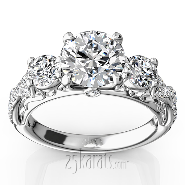 p set three trellis diamonds engagement rings stone e ring side c diamond wedding