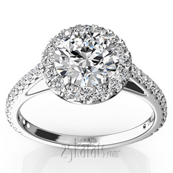 Micro pave cathedral halo engagement ring