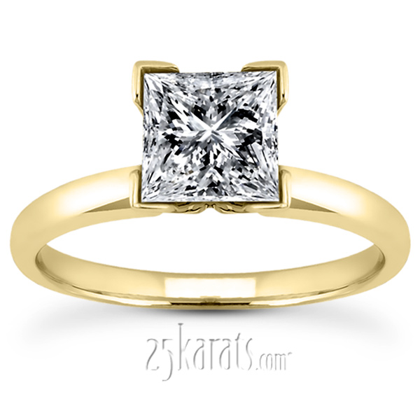 V Tip 4 Prong Classic Princess Cut Solitaire Engagement Ring