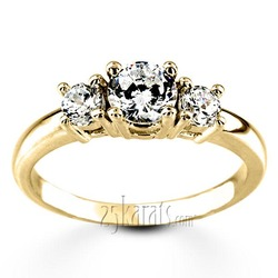 Yellow gold pre set three stone engagement ring