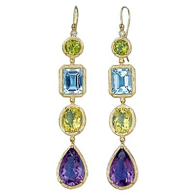 Multi Color Gem Stone Dangle Earrings