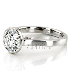Modern bezel design solitaire engagement ring