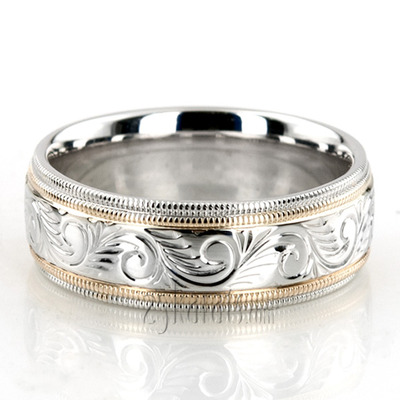 white etched rings wedding paisley band weddign wb gold ring