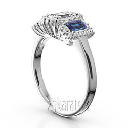 Blue sapphire diamond past present future nile engagement ring