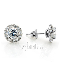 Scalloped micro set diamond and sapphire halo earrings