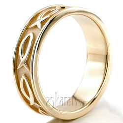 Ichthus Jesus Fish Motif Christian Wedding Band Hc100290