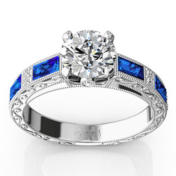 Blue sapphire and diamond antique design retro ring