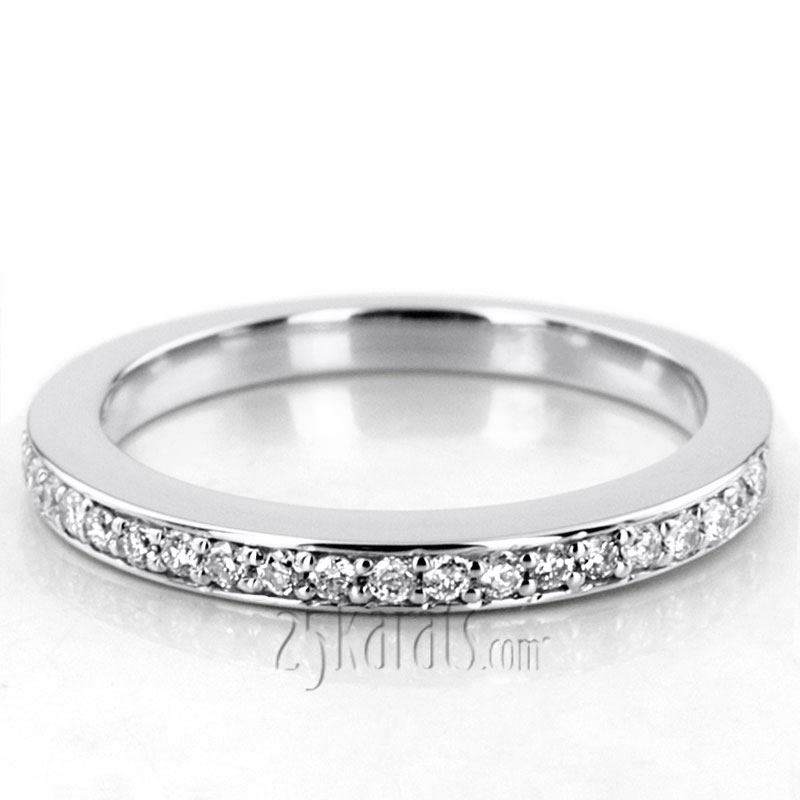 Classy Round Cut Bead Set Diamond Wedding Band 021 Cttw
