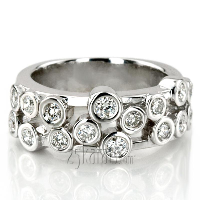 Round Cut Bezel Set Diamond Wedding Band (0.56 ct.tw)