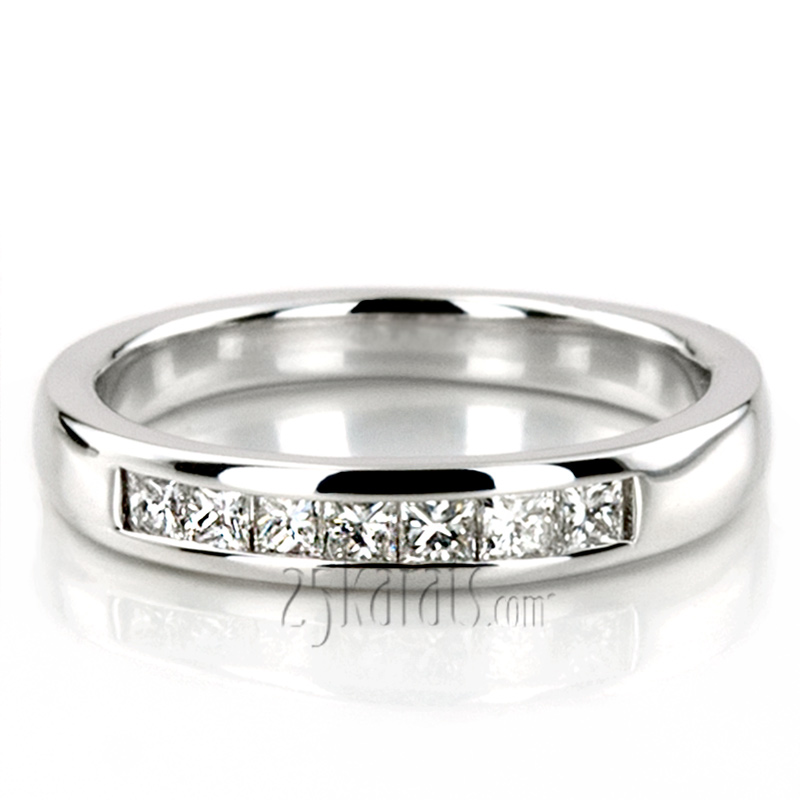 band gold white bands anniversary three stone cut princess
