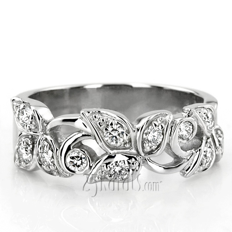 Elegant Leaf Design Diamond Fancy Ring 0 33 Ct Tw