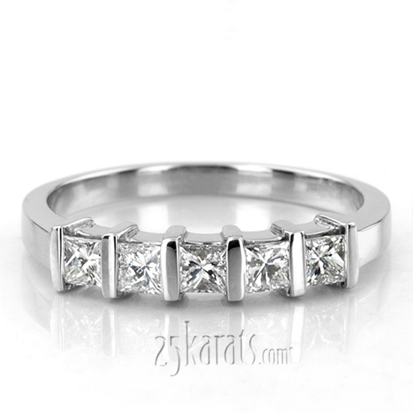 anniversary gold cut bands five stone v p w ct diamond band white tw t in princesscut princess
