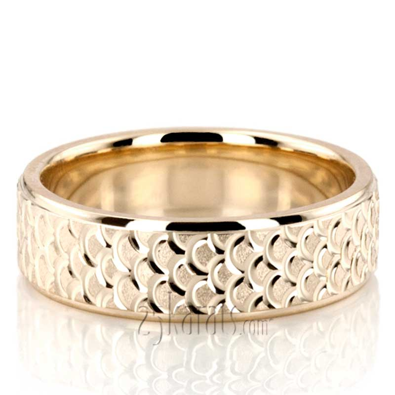 Fish scale style wedding ring fc100720 14k gold for Fishing wedding band