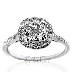 Elegant cushion halo petite diamond engagement ring