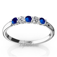 Sapphire and diamond wedding anniversary band