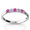 Pink sapphire color stone and alternating diamond wedding band for ladies