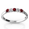 Color stone garnet and diamond alternating womens wedding and anniversary band
