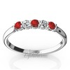 Ruby and diamond alternating wedding band