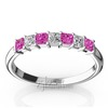 Pink sapphire and alternating diamond wedding band for ladies