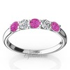 Pink sapphire and diamond wedding band for ladies