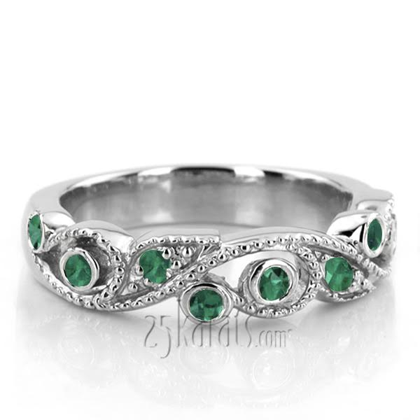 birthstone gemstones with white bands wedding anniversary natural and or band green halo rare jewelry diamond emerald ring earth may products