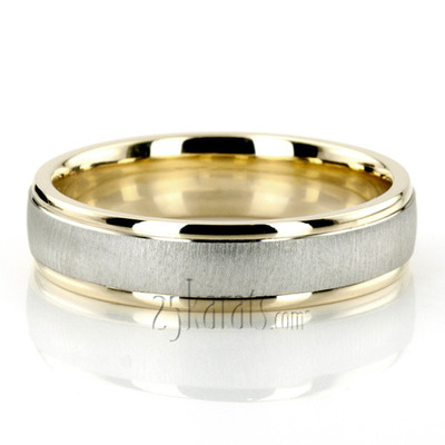 Diamond Carved Designer Wedding Bands for Men Women Two Tone
