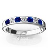 Channel set wedding and anniversary band set with blue sapphire and damonds