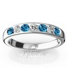 Channel set color stone and diamond alternating band