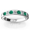 Emerald and diamond alternating channel set wedding and anniversary band