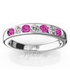 Pink sapphire wedding band engagement set
