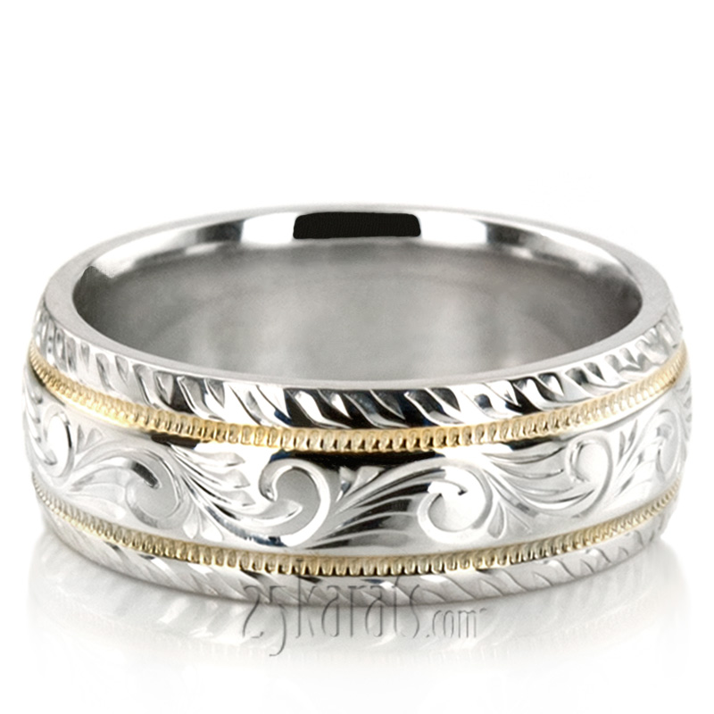 Chic Hand Engraved Milgrain Wedding Band Fc100335 14k Gold