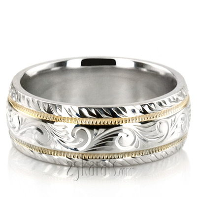 Fc100335 Previous Hand Engraved Fancy Carved Wedding Band