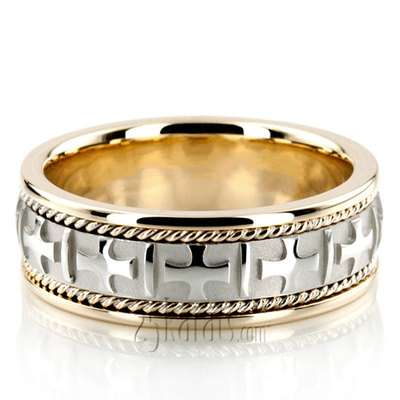 Two Tone Cross Religious Wedding Band