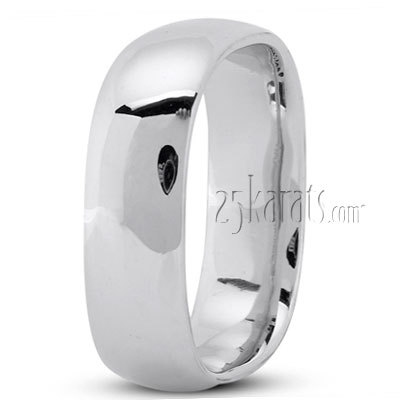 C131621WE 18K White 6mm Square Mens Wedding Band