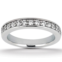 Ladies diamond pave set matching band